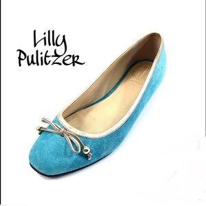 Lilly Pulitzer Sz 6.5 Aqua Suede Ballet Flats